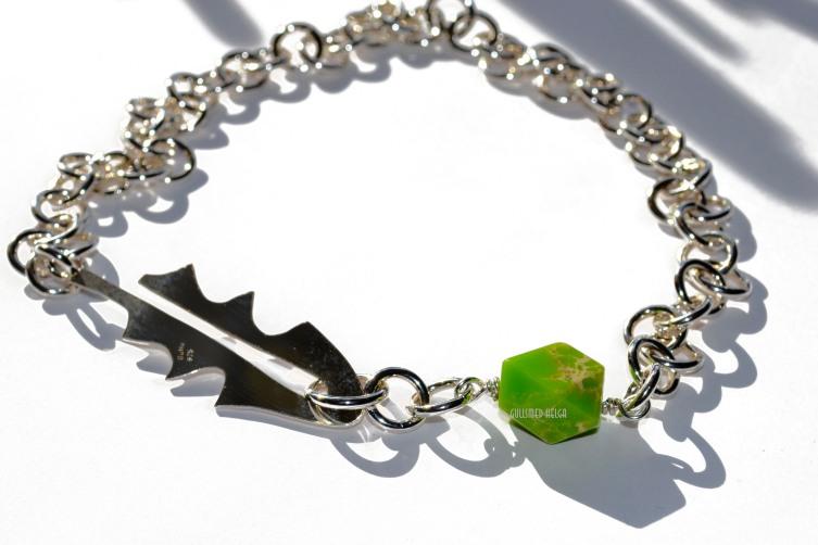 Løvetann halskjede i sølv med grønn Jasper 2500.-