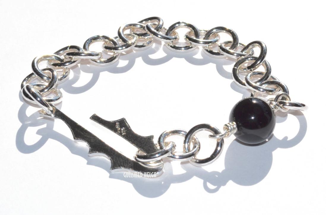Løvetann armbånd i sølv med svart onyx 1200.-