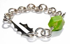 Løvetann armbånd med nydelig grønn Jasper 1650.-