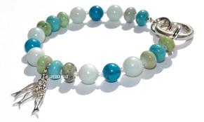 Armbånd med jade, turquoise,chrysotine og sildaknippe 800,-e